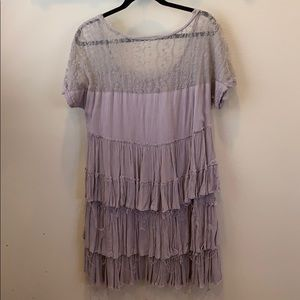 Grey ruffled free people dress